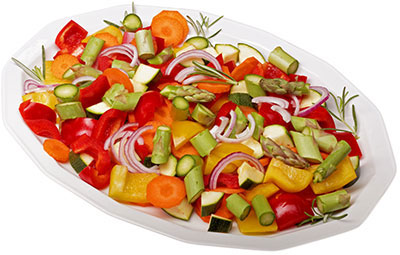 Fresh, raw veggies high in antioxidants