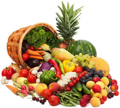 Fresh, raw fruits & vegetables