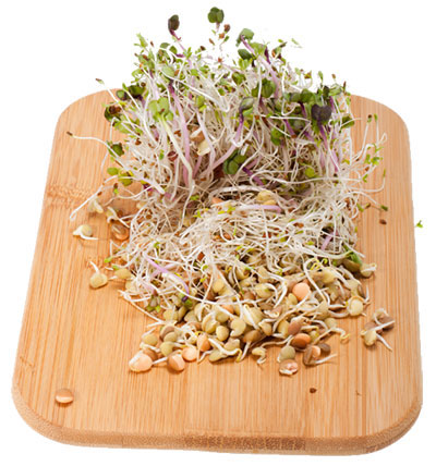 Sprouts on a cutting board