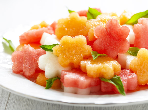 Melon flower salad