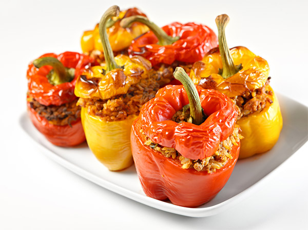Stuffed bell peppers w/veggies
